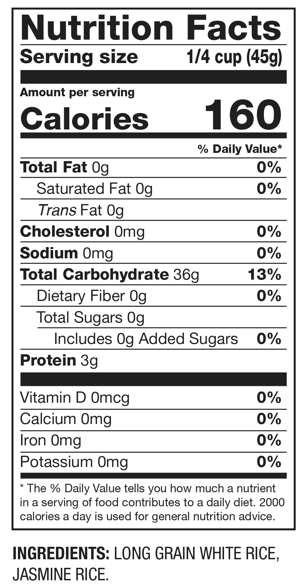 Nutrition Facts Long Grain & Jasmine Rice Blend
