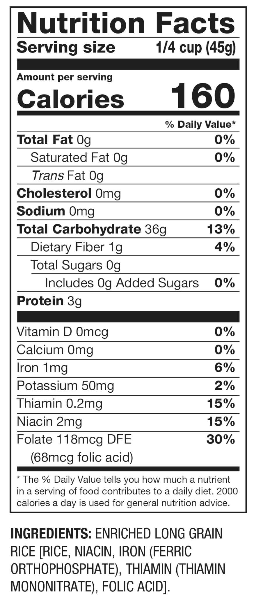 Nutrition Facts White Rice