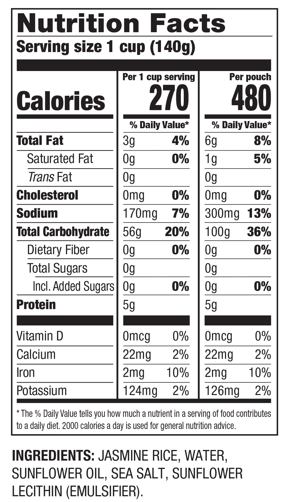 Nutrition Facts White Jasmine Rice | Ready to Heat in 90 Seconds