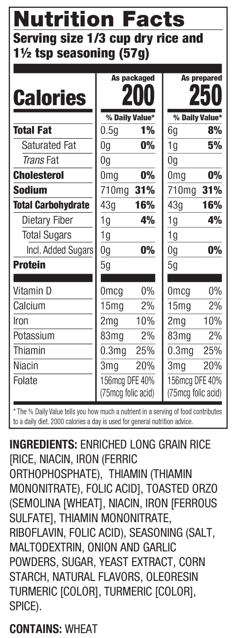 Nutrition Facts Pilaf Seasoned Rice