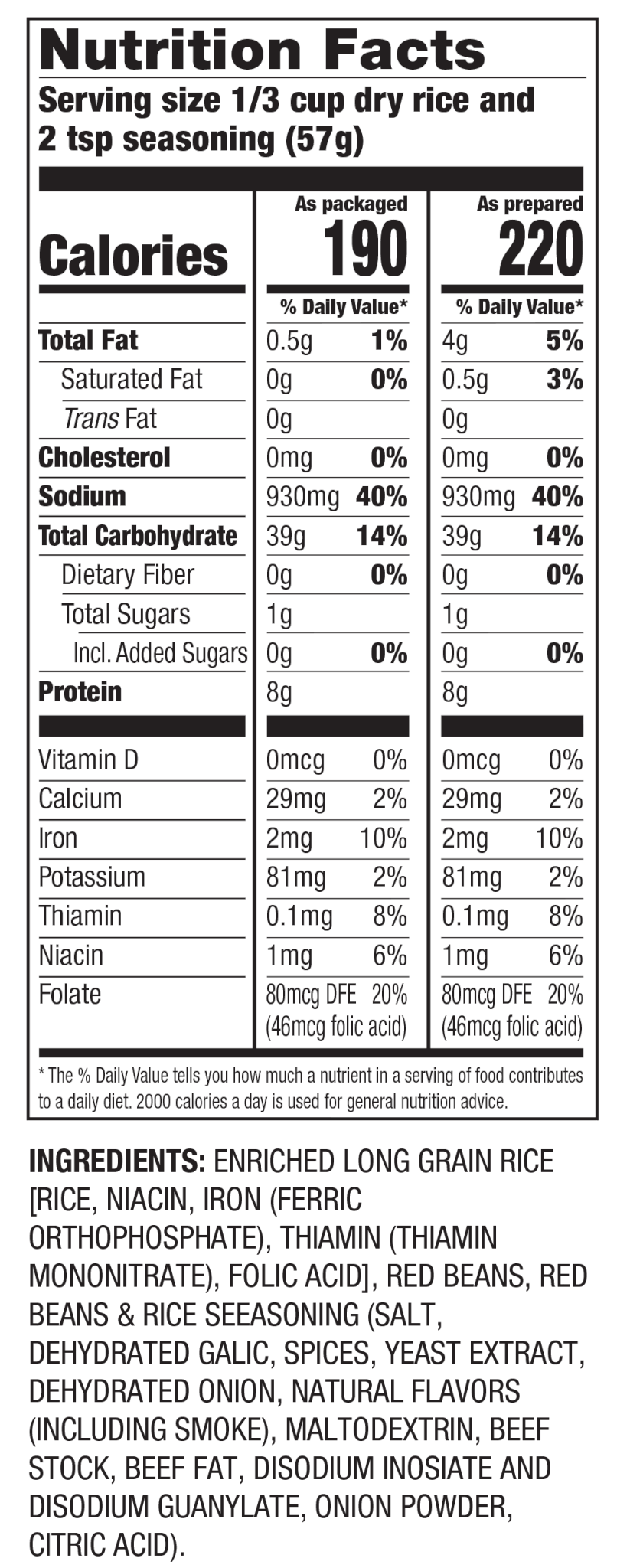 Nutrition Facts Red Beans & Seasoned Rice