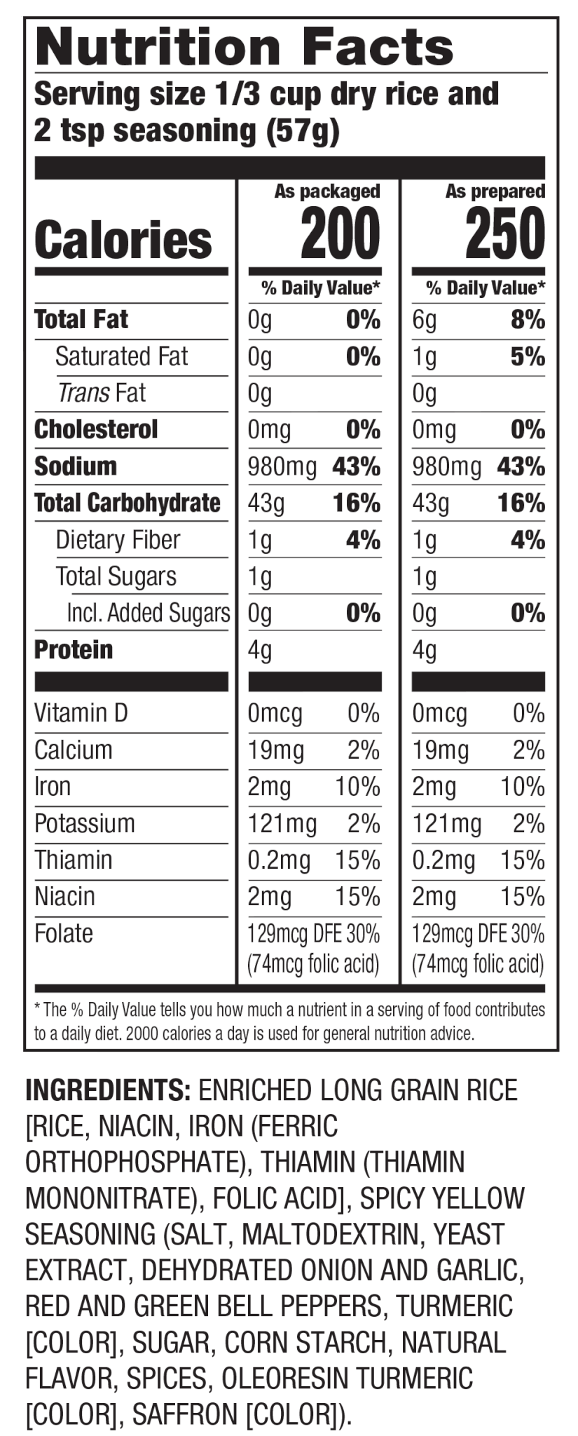 Nutrition Facts Spicy Yellow Seasoned Rice