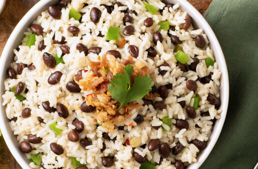 Gallo pinto with beans and rice mixed with vegetables