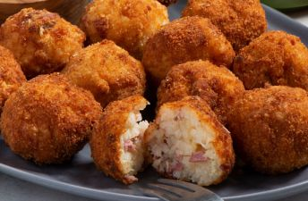 Israeli fusion Risotto balls with corned beef and sauerkraut