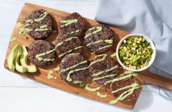 Black Bean and Brown Rice shaped and fried cakes with avocado sauce