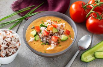 Gazpacho bowl topped with vegetables and rice