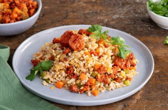 Brown Rice and lentils with chopped chorizo and vegetables
