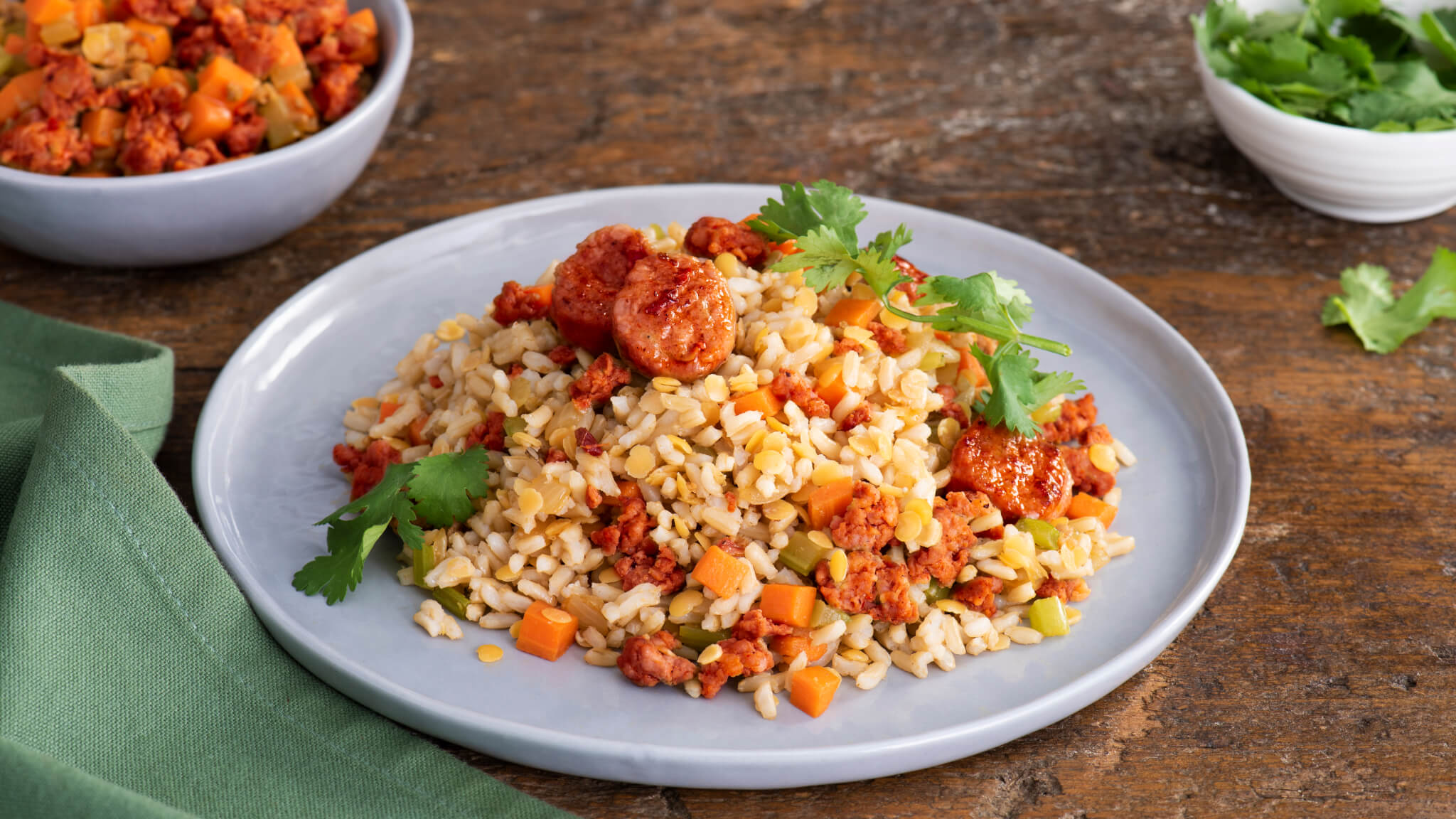 Lentils With Brown Rice and Chorizo