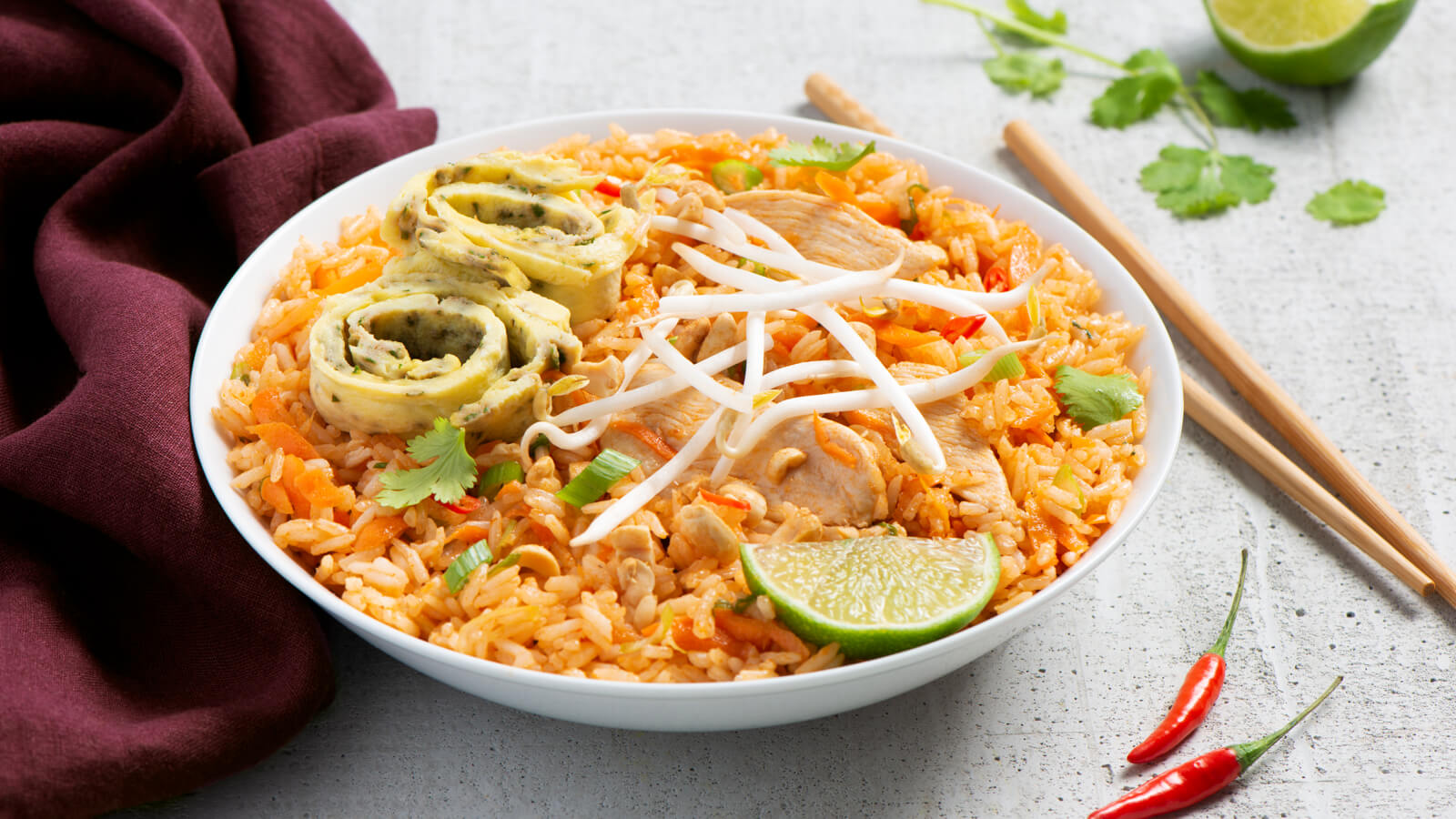 Pad Thai Fried Rice with Japanese Omelet
