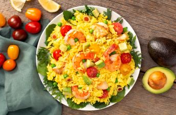 Paella Rice Salad with Avocados, Tomatoes, Peas, Lemon and Shrimp