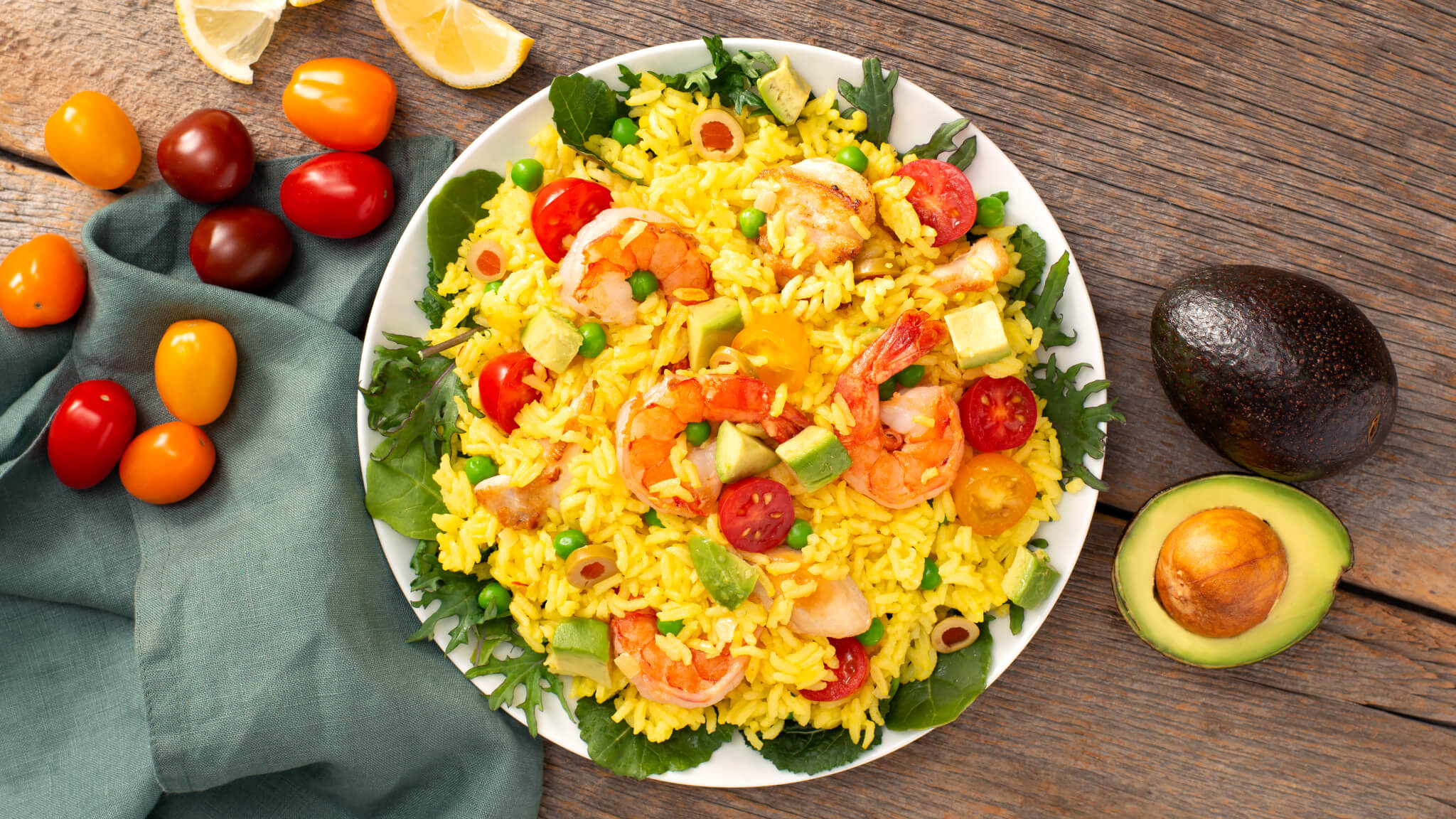 Paella Salad with Shrimp & Chicken