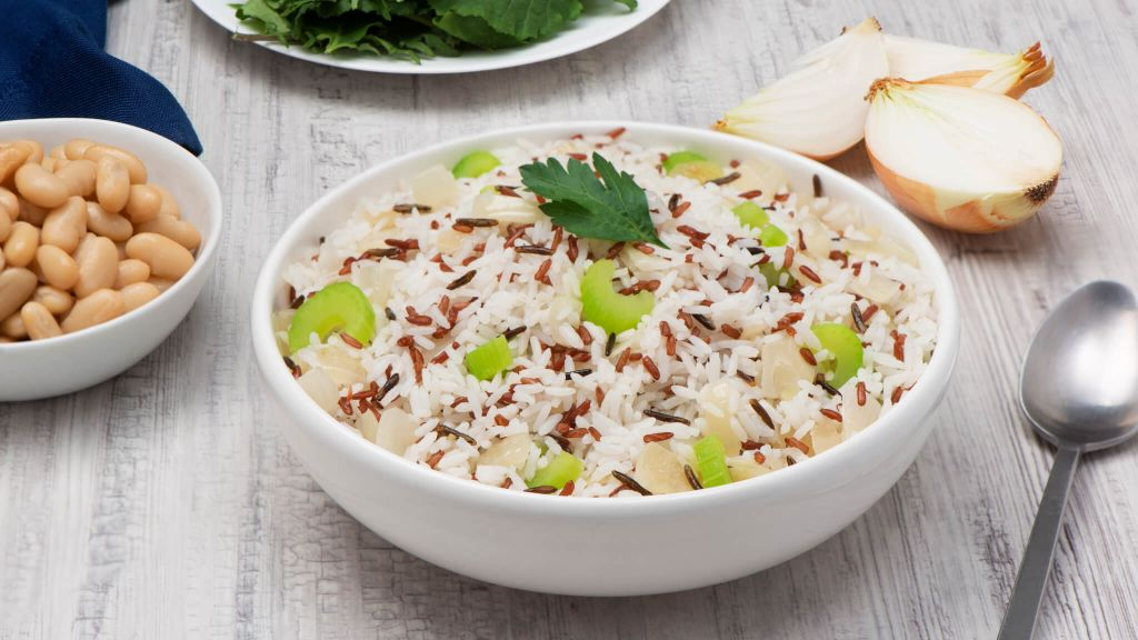 Rice Pilaf Mix with Jasmine Rice, Wild Rice, Red Rice and fresh celery