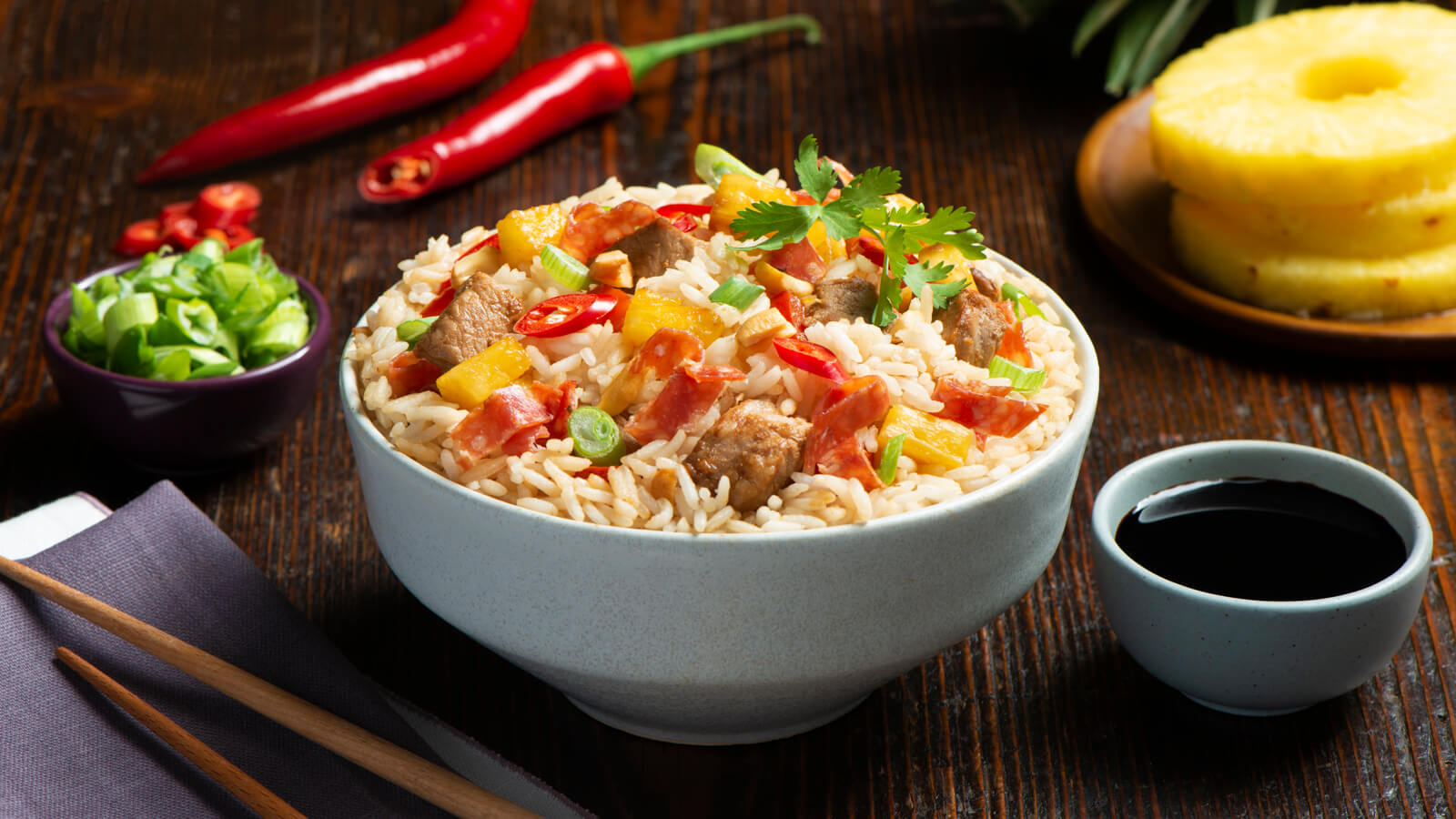 Pineapple Salami Fried Rice