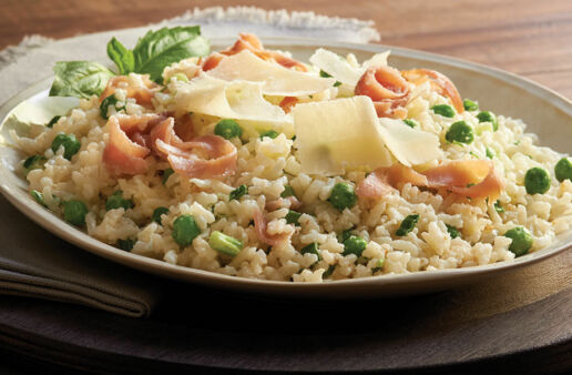 Prosciutto and Green Pea Risotto with Cheese