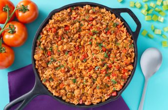 Rice skillet with red beans and tomatoes