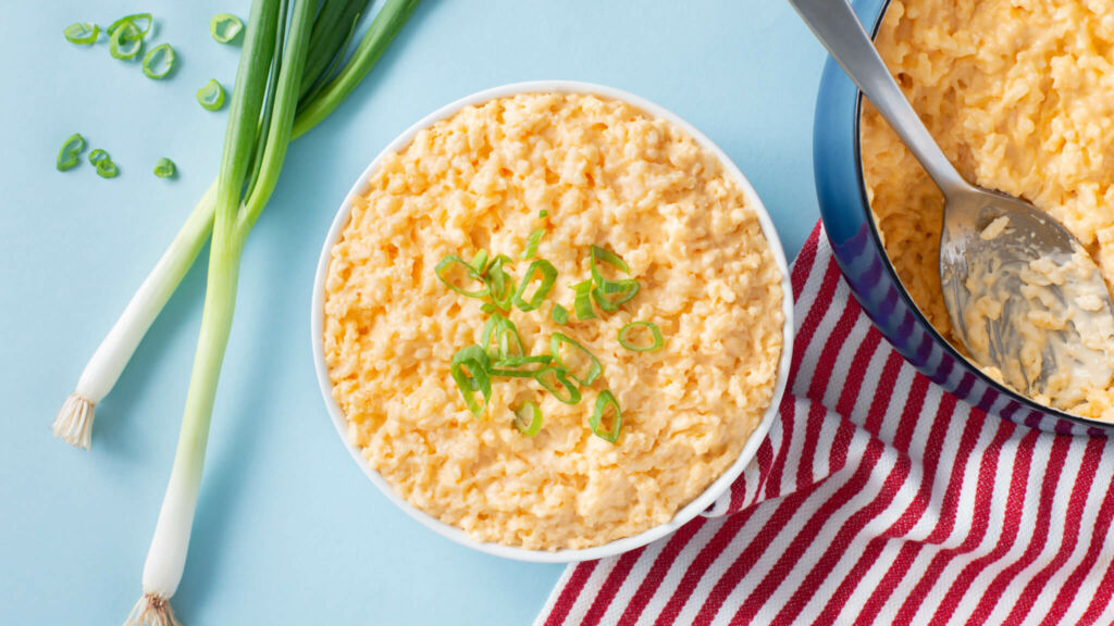 Bowl with Rice Mac and Cheese and scallions