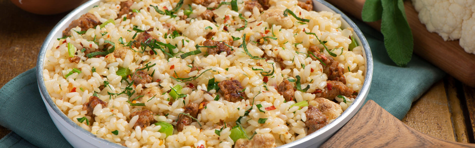 Risotto with Sausage and Cauliflower