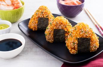 Fried rice cones with shrimp and nori seaweed