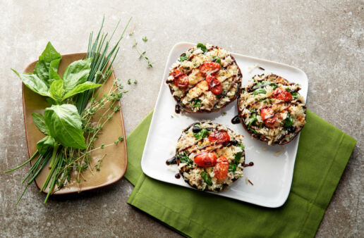 Three stuffed portobello mushrooms with jasmine red and wild rice