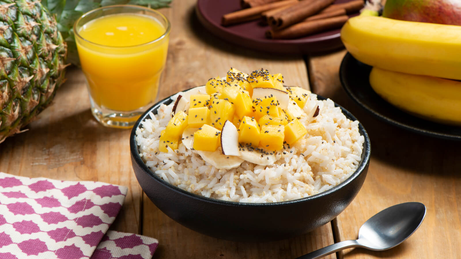 Tropical Jasmine Rice with Quinoa Breakfast Bowls