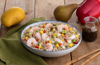 Brown Rice bowl with shrimp, avocado, mango and pears