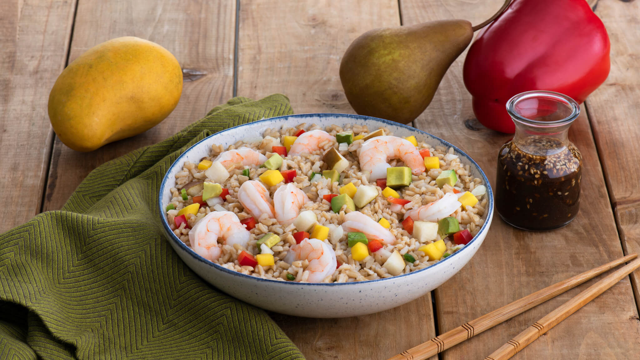 Asian Brown Rice and Shrimp Salad with Sesame Orange Dressing