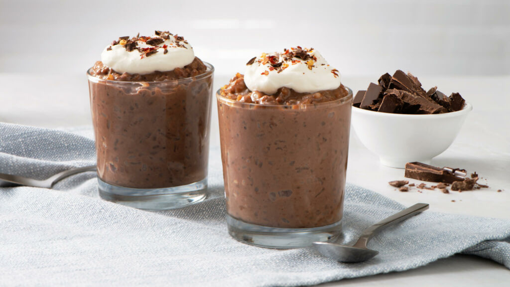 chocolate-rice-pudding-with-whipped-cream