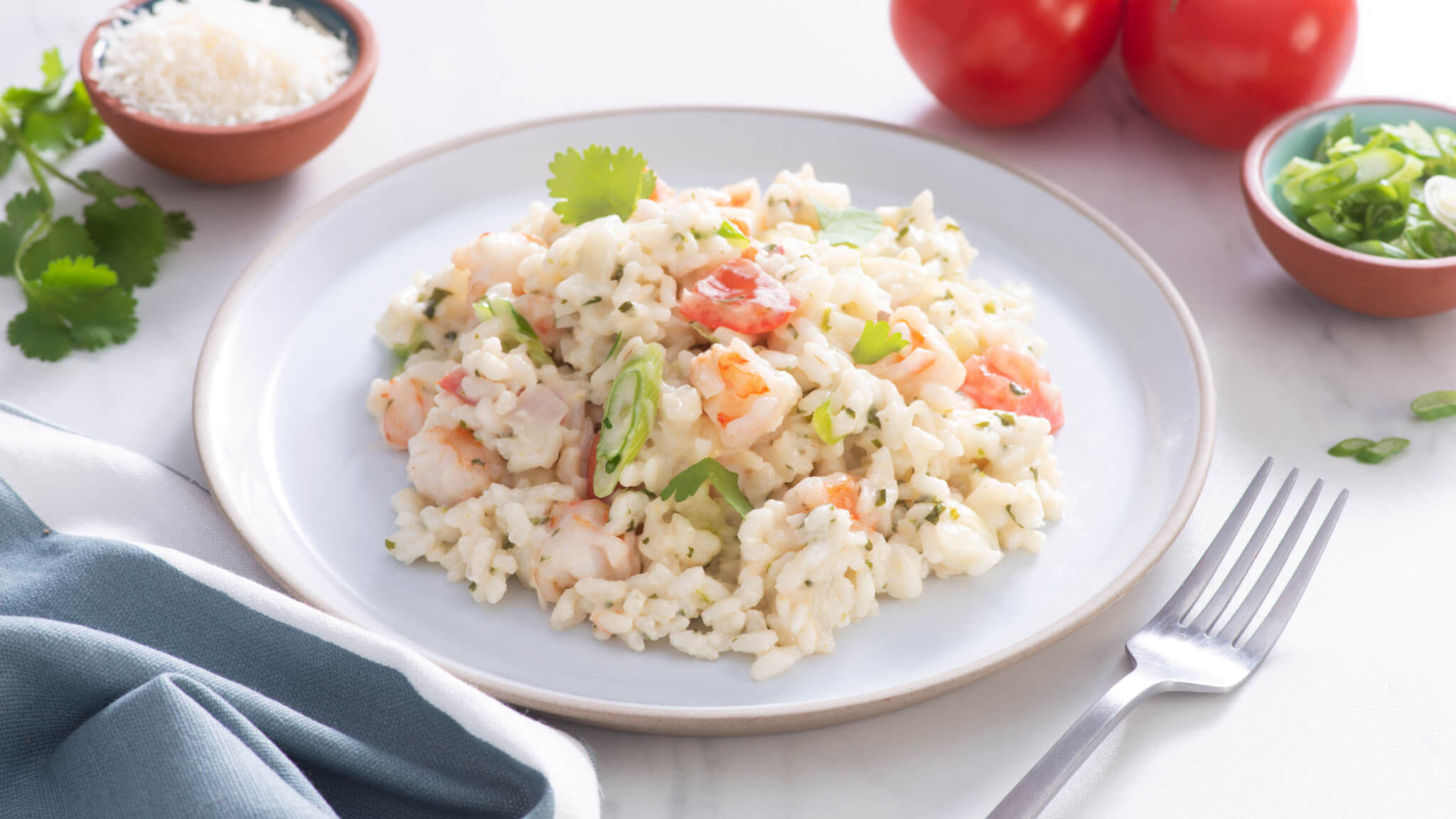 Cilantro Cream Risotto with Shrimp