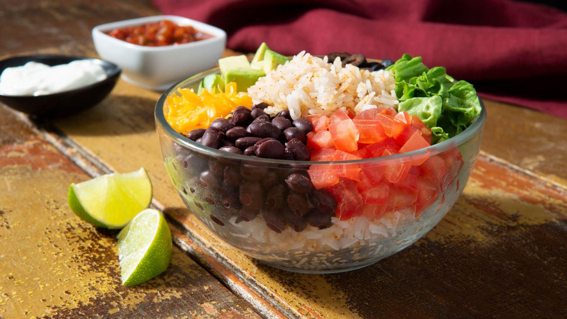 Taco bowls con arroz jazmín y quinoa