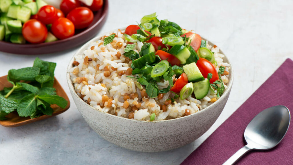 lentil-tabbouleh-with-tomato-cucumber-jasmine-rice-and-quinoa