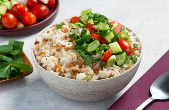 Jasmine Rice with Quinoa and Lentils Tabbouleh