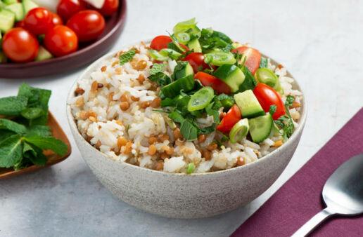 Tabulé de lentejas con arroz jazmin, quinoa y verduras frescas