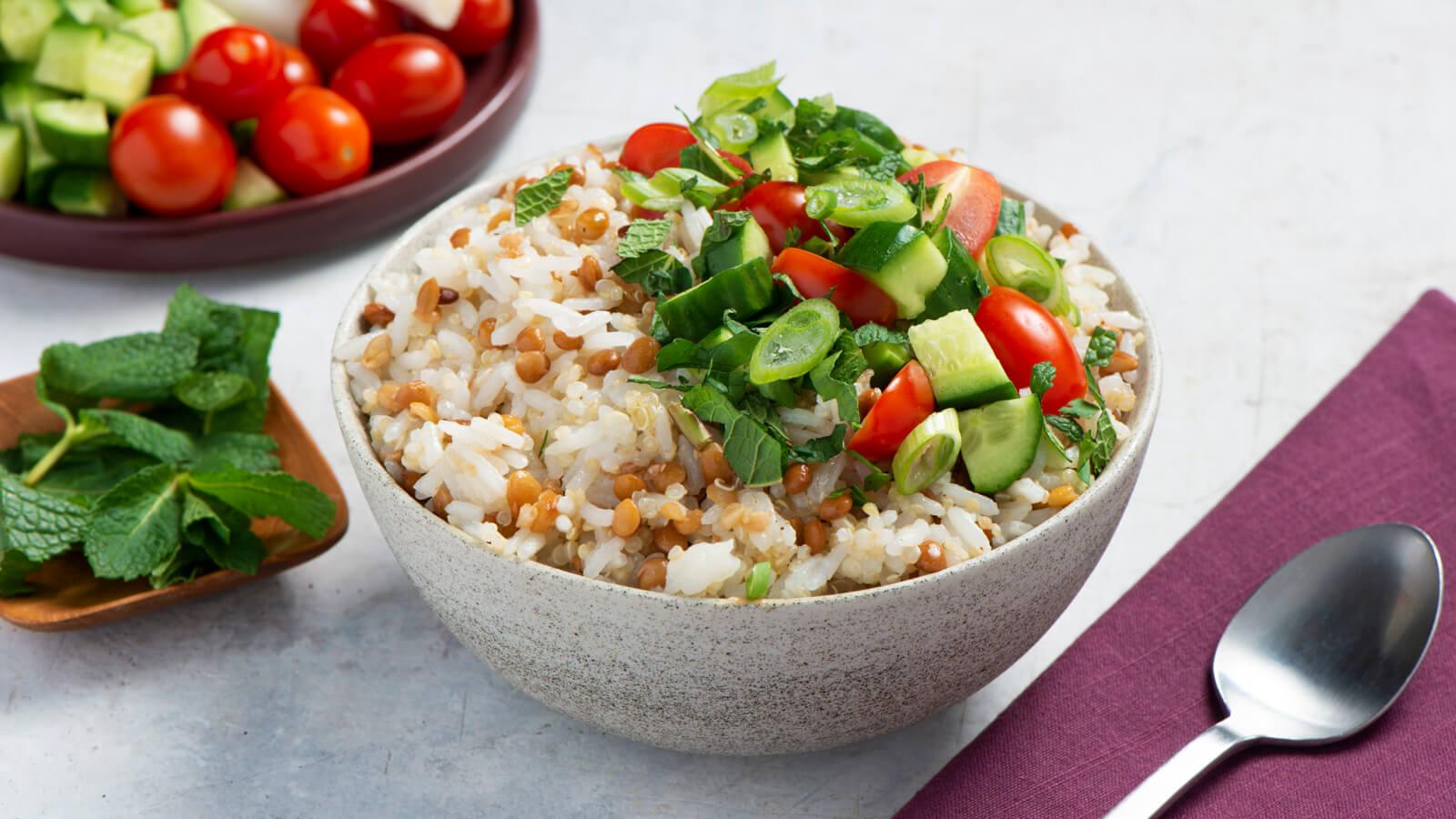Tabulé de lentejas con arroz jazmín y quinoa