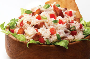 BLT rice dip with bacon, lettuce and tomato