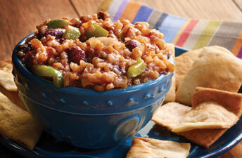 Bourbon Street Red Beans and Rice dip bowl with salsa