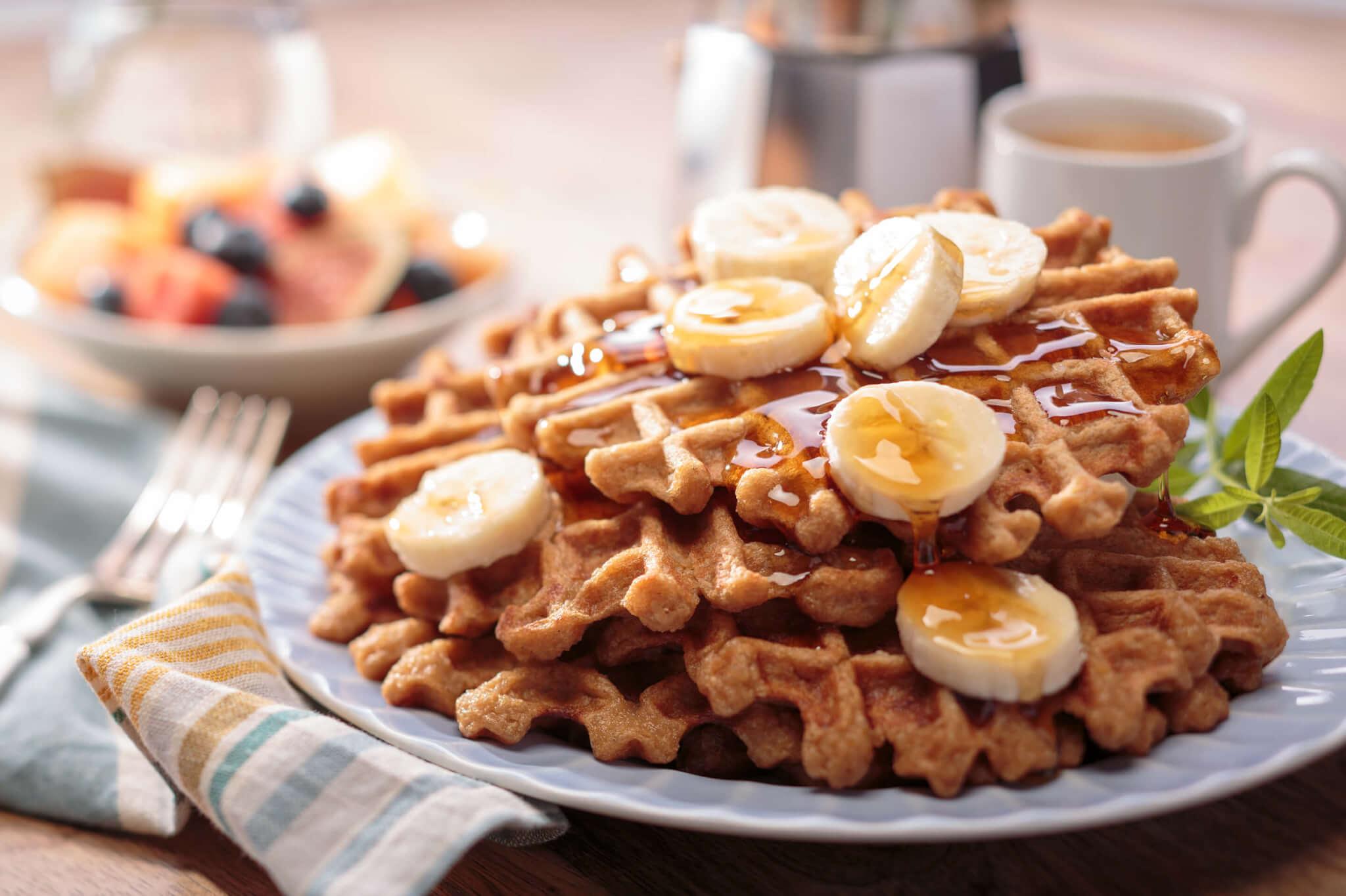 Waffles sin gluten de arroz y plátano