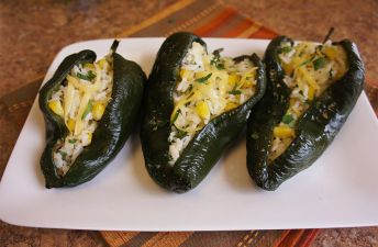 Poblano Peppers stuffed with rice and topped with cheese