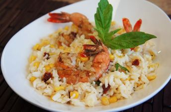 White bowl with shrimp and rice
