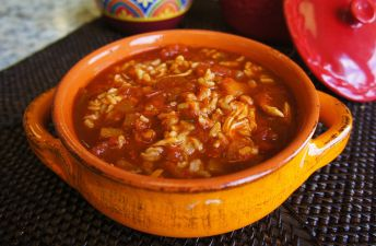 Bowl with Rice and Chicken Enchilada Soup