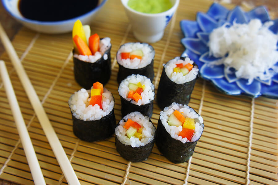 Nori wrapped vegetables into sushi rolls