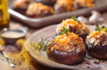 Mushrooms stuffed with sausages, red wild rice and jasmine