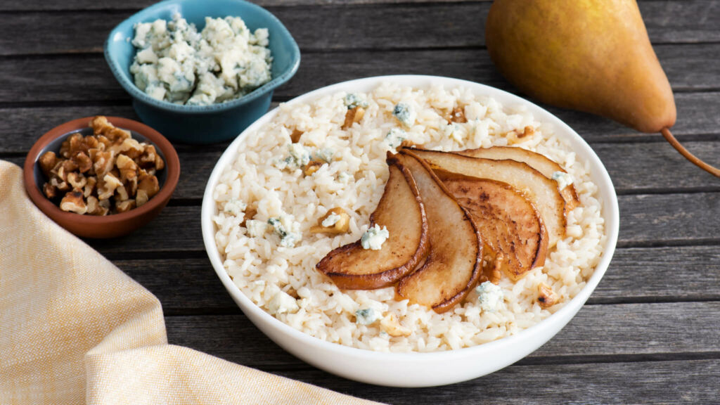 Blue Cheese Risotto with Pears and Toasted Walnuts