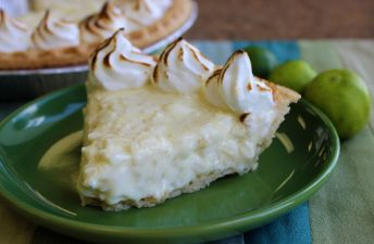 Rice Pudding Torte Slice with Merengue and Limes