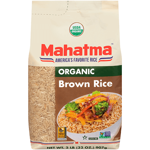 Bag of long-grain organic brown rice