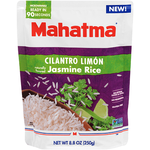 Mahatma ready to serve cilantro limón jasmine rice 8.8 oz package