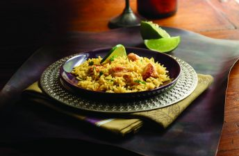 Black plate with Basmati Rice, Lime and Moroccan Chicken