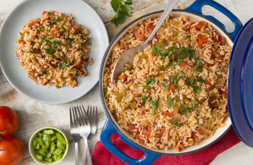 Whole-grain-spanish-brown-rice-in-a-dutch-oven