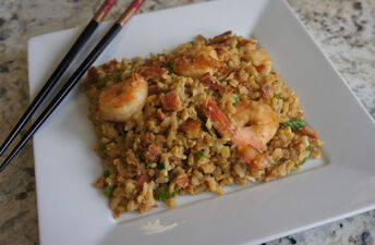 Fried Brown Rice, Shrimp and Bacon