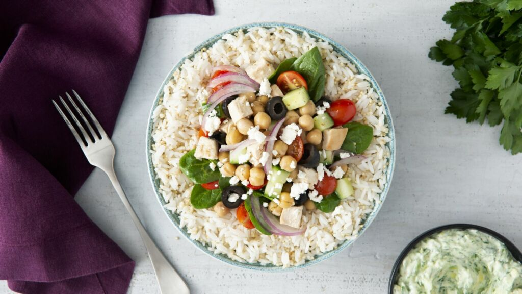 Greek Power Bowl with Jasmine Rice and Quinoa, Chickpeas, Black Olives and Red Onion