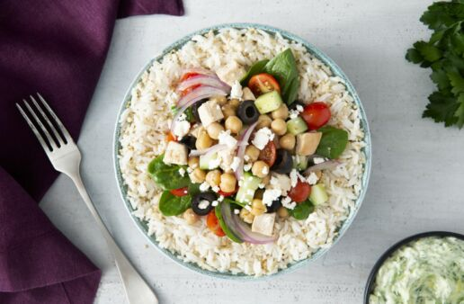 Greek Power Bowl with Jasmine Rice, Chickpeas, Black Olives and Red Onion